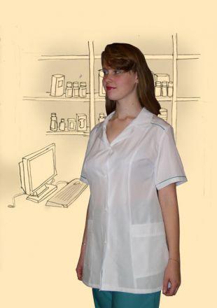 Костюм сорочечный, модель №2. Верх белый, низ бирюзовый.