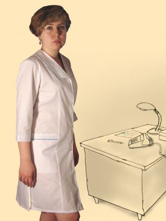 Халат сорочечный на пуговицах, модель Нина